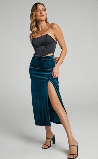 Jullia Midi Split Skirt in Petrol Velvet