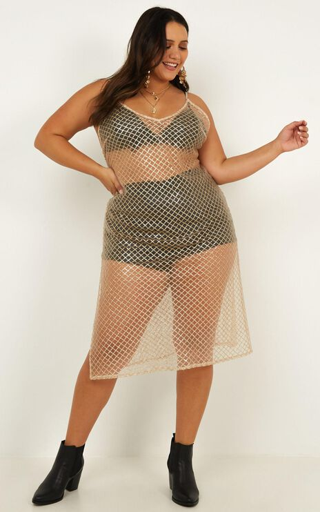 No Relief Dress In Champagne Sequin Mesh