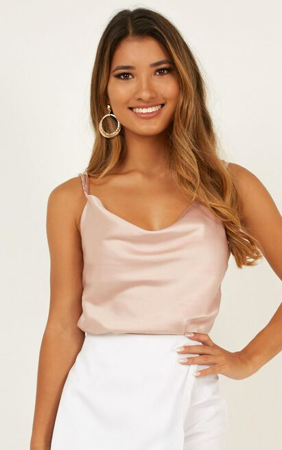 In My Mind Top In champagne satin - 20 (XXXXL), Beige, hi-res image number null