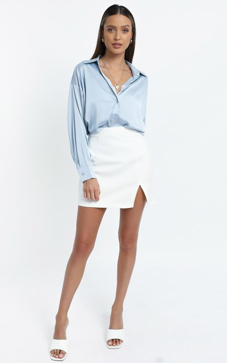 Desiree Shirt in Light Blue Satin
