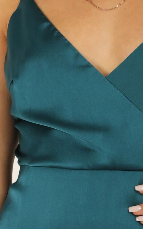 Cloud Cover Dress In Teal Satin