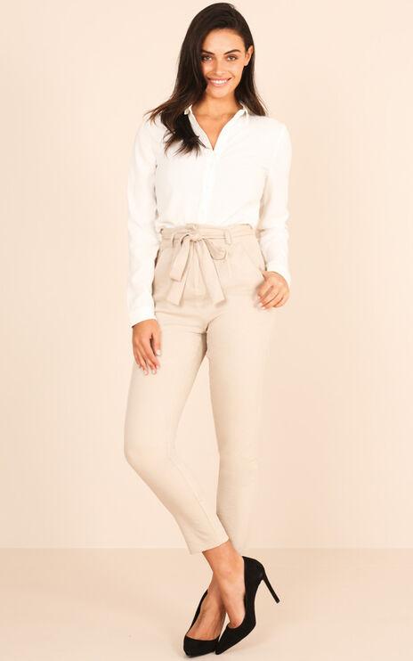 Influence Pants In Beige Linen Look