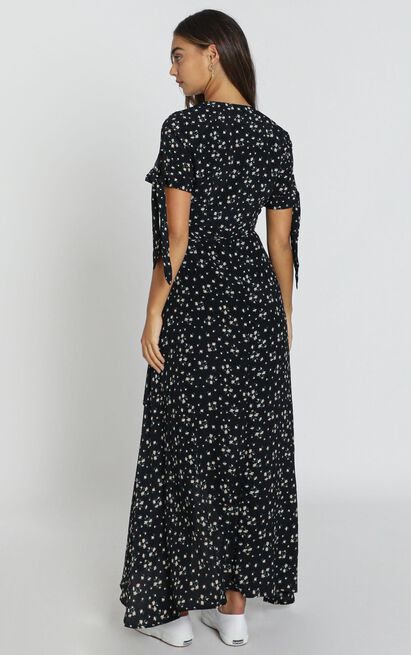 Picking It Up Maxi Wrap Dress in dark navy floral - 4 (XXS), Navy, hi-res image number null