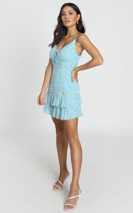 Selby Trim Detail Mini Dress in Blue Polka