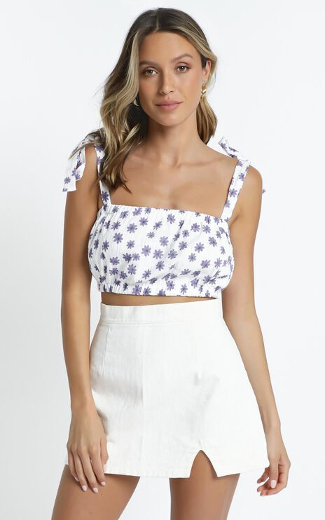 Josette Top in White Floral