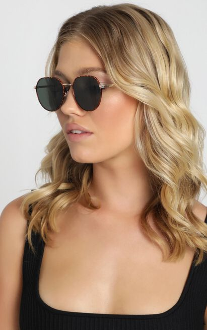 Mink Pink - Side Street Sunglasses In Gold Tort And Green Mono, , hi-res image number null