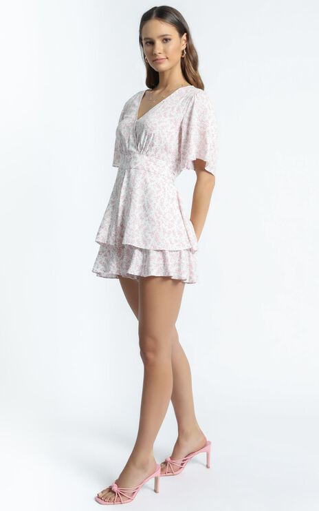 Elouise Playsuit in White Floral
