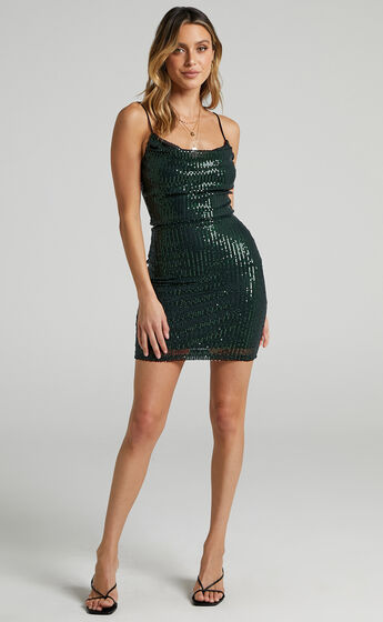 Talyah Mini Dress in Emerald Sequin