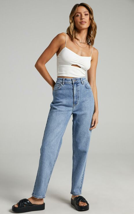 Lee - Hourglass High Mom Jeans in Bias Blue