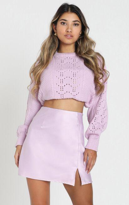 Mini Slip Skirt in lilac satin - 14 (XL), Purple, hi-res image number null