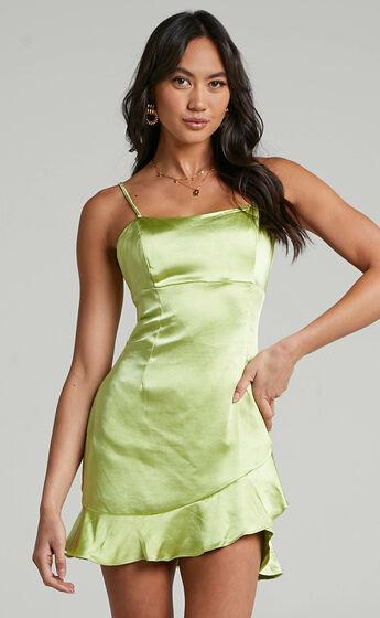 Aida Asymmetrical frill mini dress in Forest Green