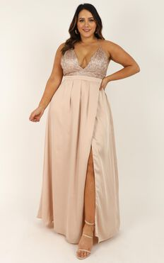 Fairest Of Them All Dress In Rose Gold Glitter