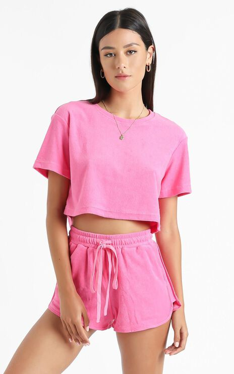 Nori Two Piece Set in Hot Pink Terry Towelling