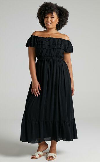 Notre Dame Off Shoulder Maxi Dress in Black