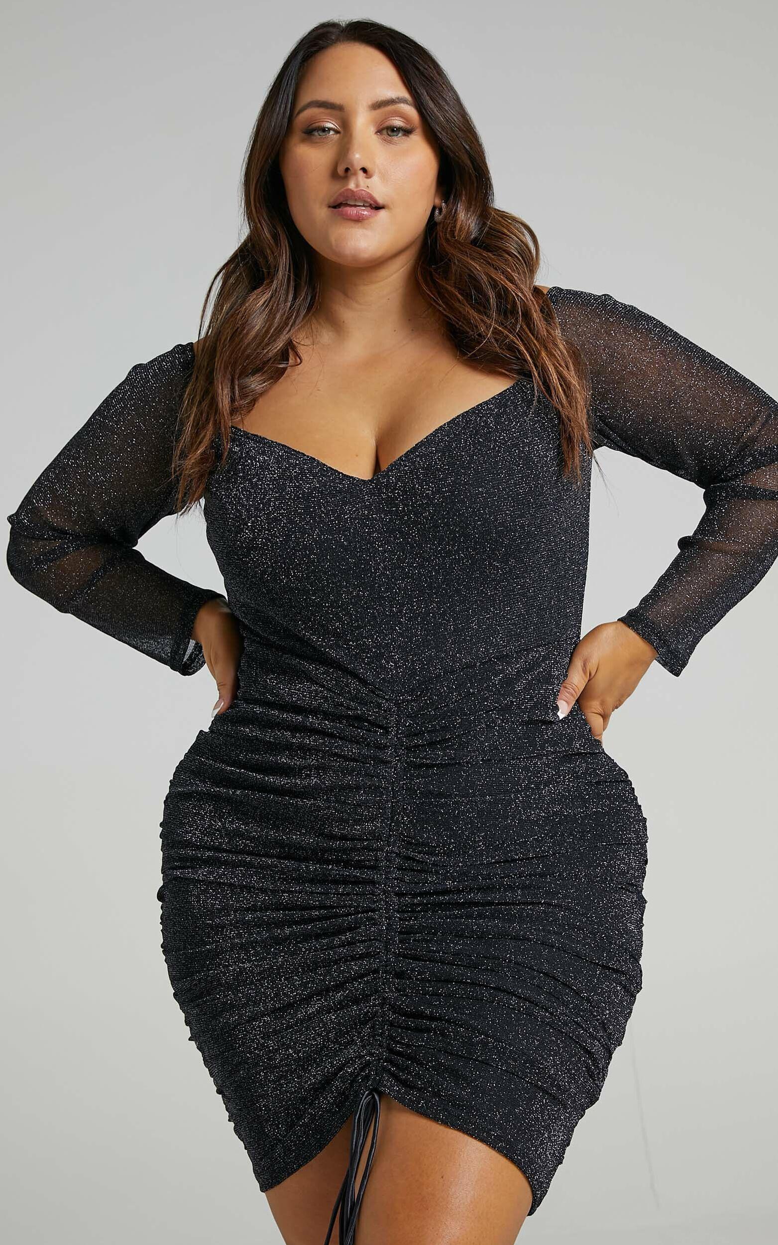 When I Get Home Dress in black mesh lurex - 20 (XXXXL), Black, super-hi-res image number null
