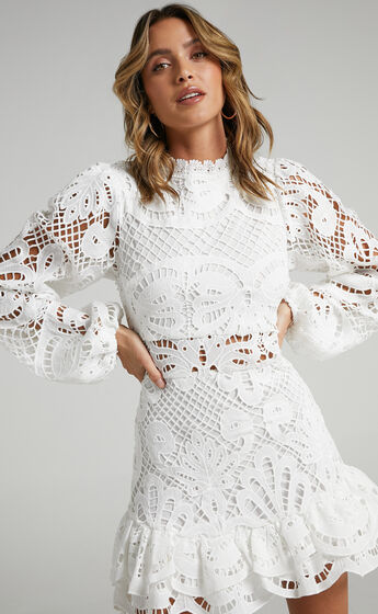 Kiss Me Now Dress in White Lace