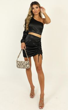 Steal The Room Two Piece Set In Black Satin