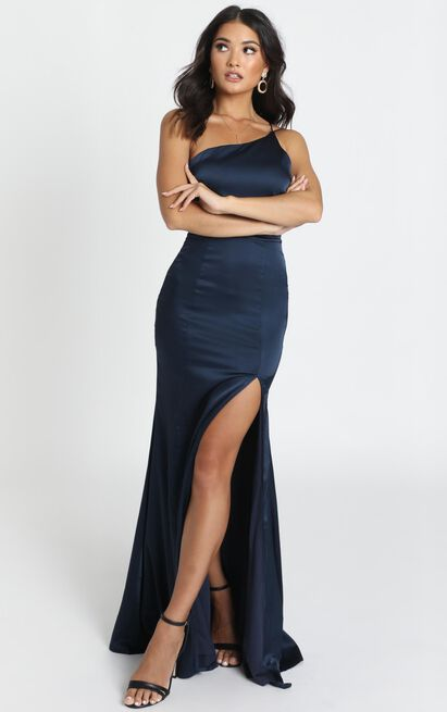 Since I Saw You Maxi dress in navy satin - 14 (XL), Navy, hi-res image number null