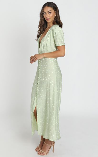 Peri V Neck Midi Dress in green - 6 (XS), Green, hi-res image number null