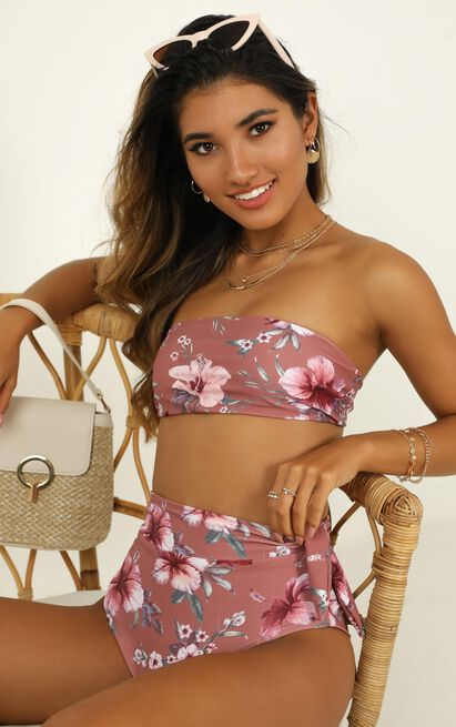 Lexie Bikini Bottom in rose floral - 14 (XL), Blush, hi-res image number null