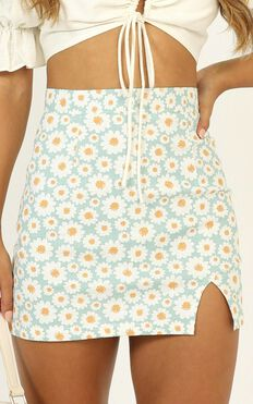 Carry Your Smile Mini Skirt In Mint Floral