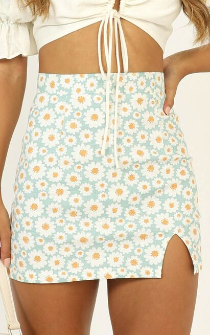 Carry Your Smile Mini Skirt in mint floral - 12 (L), Green, hi-res image number null
