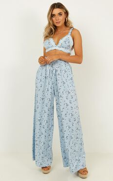 In A Fantasy Two Piece Set In Blue Floral