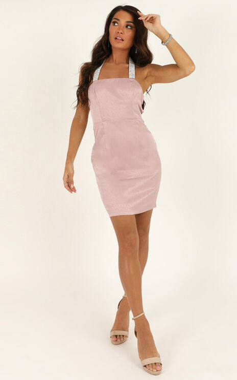 Let Me Love You Babe Dress In Blush Sequin