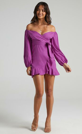 Cant Move On Off Shoulder Mini Dress in Dark Orchid