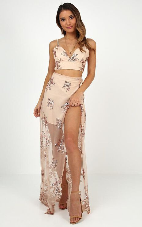 Beyond You Two Piece Set In Rose Gold Sequins