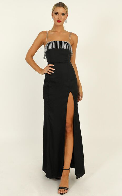 Absolutely Flawless Dress In Black Satin