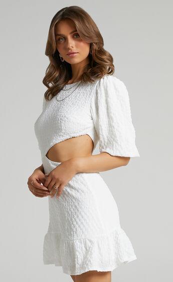 Binkie Puff Sleeve Cut out Mini Dress in White