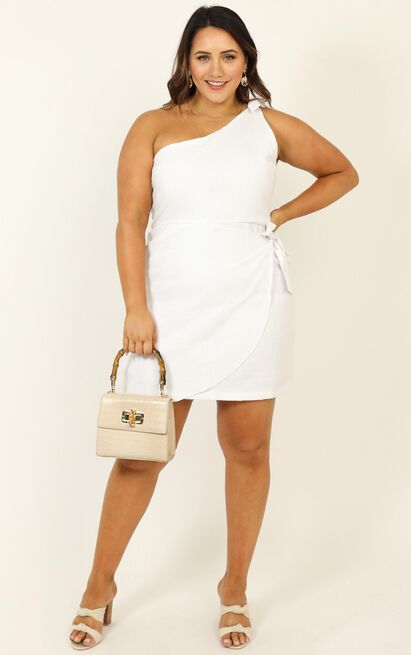 Keeping It Together Dress In White Linen Look - 4 (XXS), White, hi-res image number null