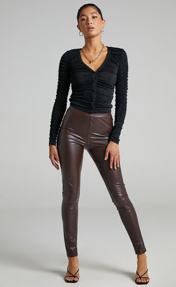 Sinead Pants in Chocolate Leatherette