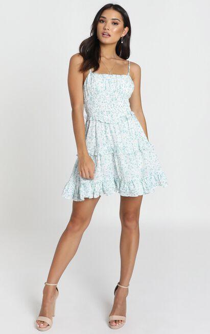 Felicia Shirred Waist Mini Dress in sage floral - 12 (L), Sage, hi-res image number null
