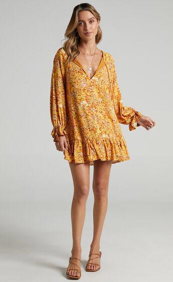 Sian Long Sleeve Mini Dress in Rustic Floral