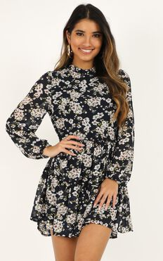 Have Trust Dress In Navy Floral