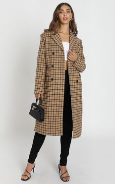 Heroic Moment Coat In Beige Check