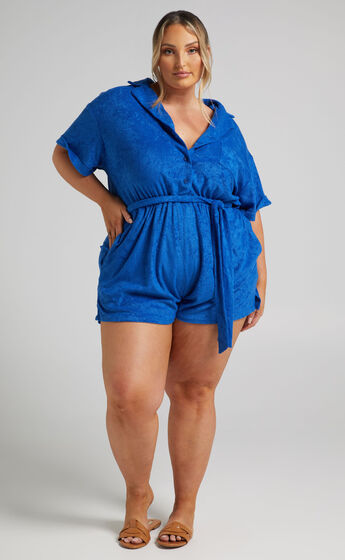 Akaithy Collared Playsuit in Blue