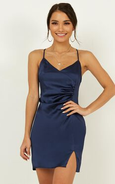 Saw The Light Dress In Navy Satin