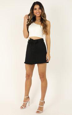Coming Over Again Denim Skirt In Black