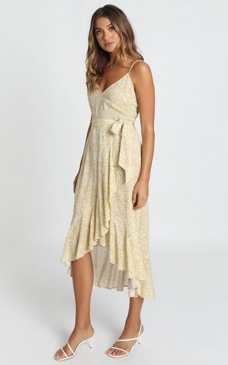 Josie Ruffle Hem Midi Dress In Mustard Floral