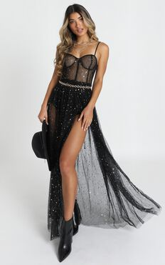 Stunning View Dress In Black Mesh