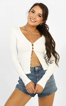 Waiting Patiently Long Sleeve Top In White