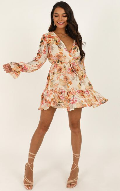 Hibiscus Flower dress in white floral - 12 (L), White, hi-res image number null