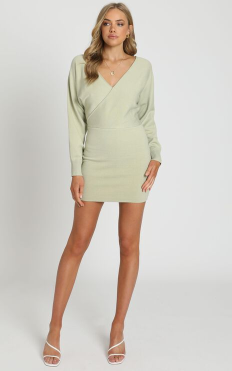 Midnight Confessions Knit Dress in Sage