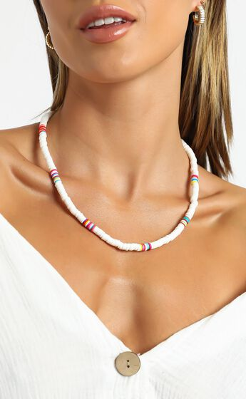 Beaded Necklace in White