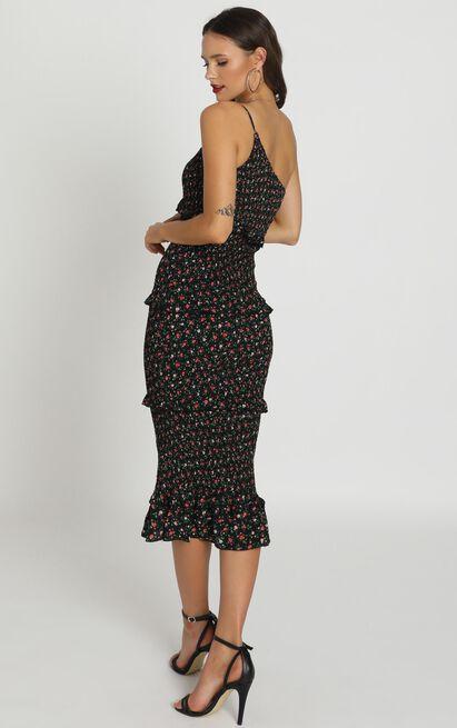 Little More Attention Dress In black floral - 12 (L), Black, hi-res image number null