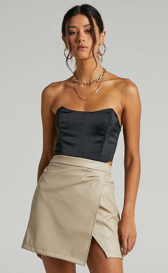 Shani Skirt in Stone Leatherette