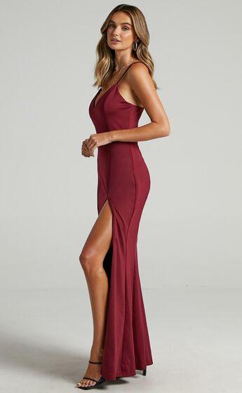 Dare To Dream Split Maxi Dress in Wine